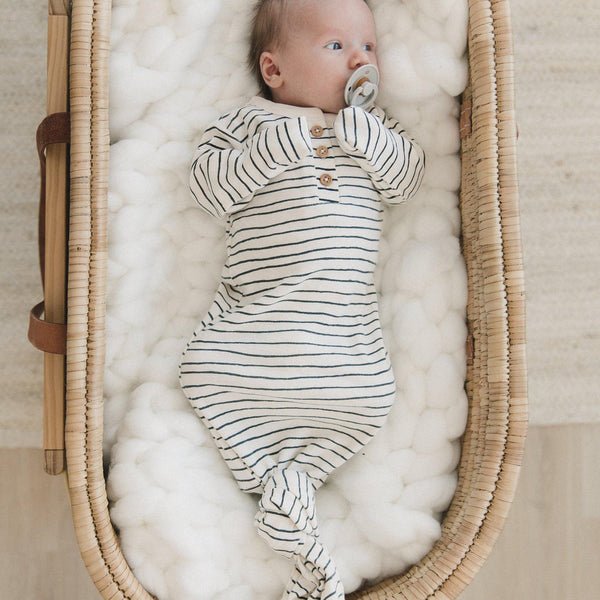 Organic Cotton Knotted Sleep Gown - Cobi blue Stripes-Makemake Organics