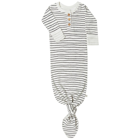 Organic Cotton Knotted Sleep Gown - Cobi blue Stripes