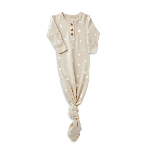 Organic Cotton Knotted Sleep Gown - Eli Oat Polka