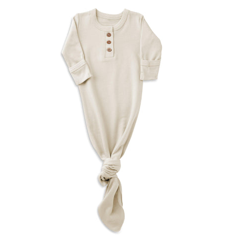 Organic Cotton Knotted Sleep Gown - Eli Oat
