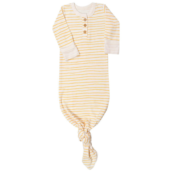 Organic Cotton Knotted Sleep Gown - Luna Yellow Stripes-Makemake Organics