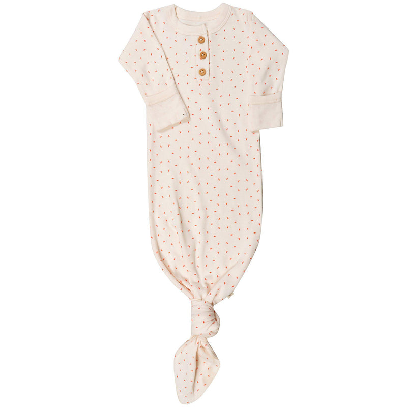 Organic Cotton Knotted Sleep Gown - Mila Pink Fleck-Makemake Organics
