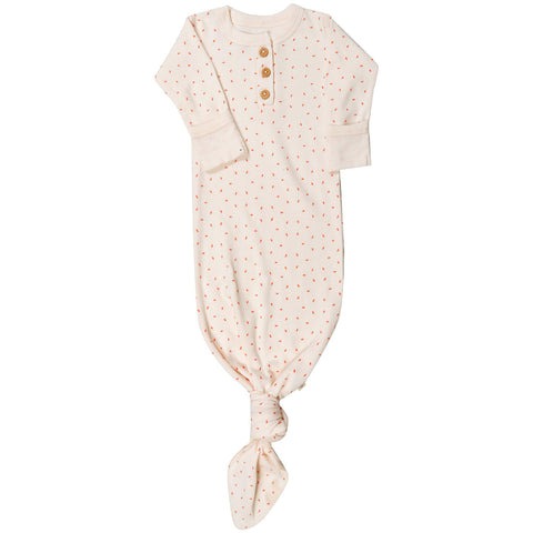 Organic Cotton Knotted Sleep Gown - Mila Pink Fleck