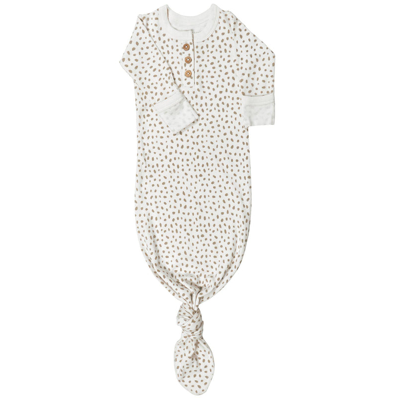 Organic Cotton Knotted Sleep Gown - Nola Brown Dots-Makemake Organics