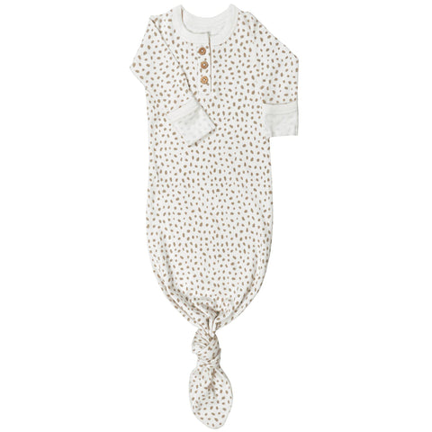 Organic Cotton Knotted Sleep Gown - Nola Brown Dots
