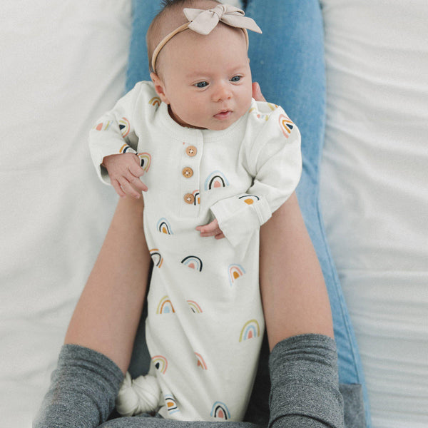 Organic Cotton Knotted Sleep Gown - Rainbow-Makemake Organics