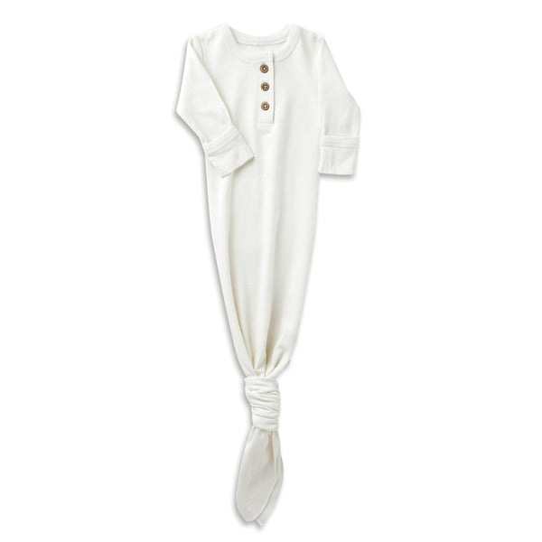 Organic Cotton Knotted Sleep Gown - Stella Ivory-Makemake Organics