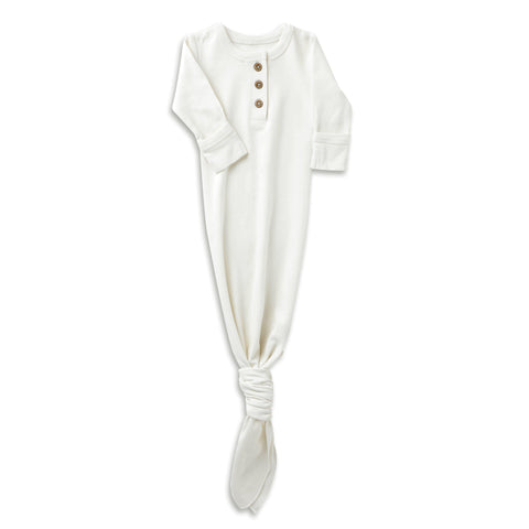 Organic Cotton Knotted Sleep Gown - Stella Ivory