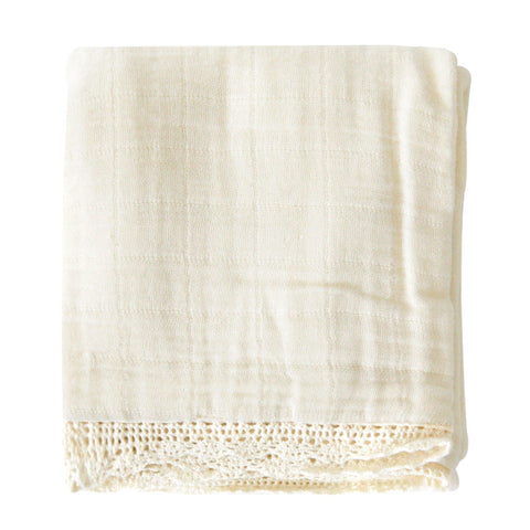 Organic Cotton Muslin Blanket - Ivory Lace