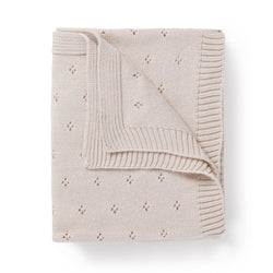 Organic Cotton Pointelle Baby Blanket - Nora Shell-Makemake Organics