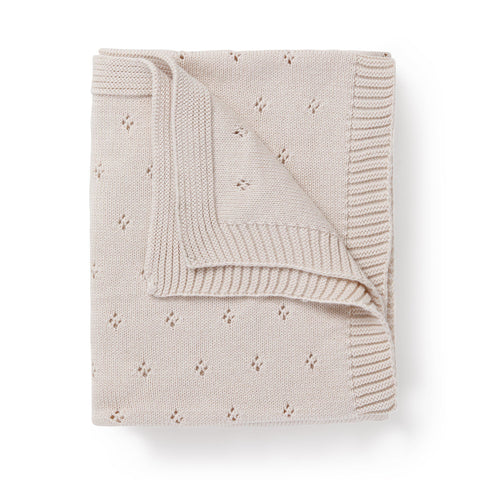 Organic Cotton Pointelle Baby Blanket - Nora Shell