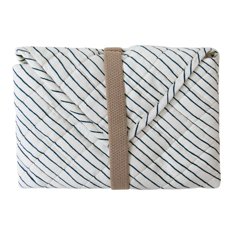 Organic Cotton Portable Changing Mat - Cobi Blue Stripes