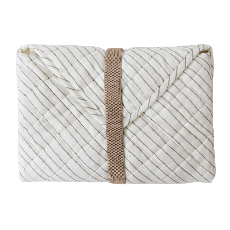 Organic Cotton Portable Changing Mat - Thistle Grey Stripes-Makemake Organics