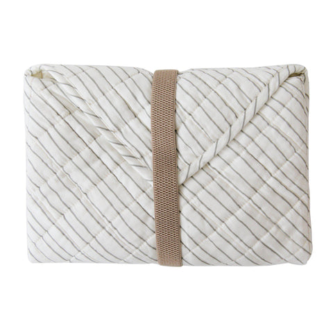 Organic Cotton Portable Changing Mat - Thistle Grey Stripes