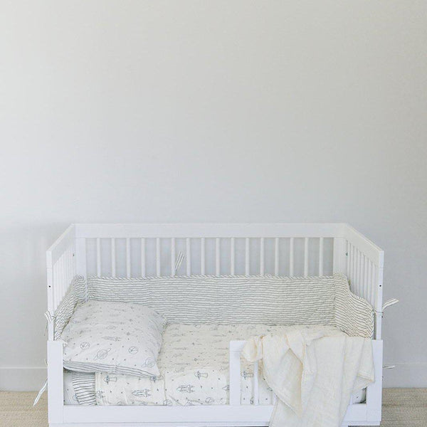 Organic Cotton Quilted Crib Bumper Liner - Cobi Blue Stripes-Makemake Organics
