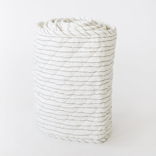 Organic Cotton Quilted Crib Bumper Liner - Thistle Grey Stripes-Makemake Organics