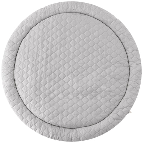 Organic Cotton Quilted Round Play Mat -  Noah Grey