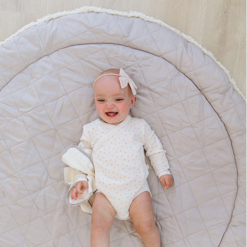 Organic Cotton Quilted Round Play Mat Reversible- Noah Grey with Thistle Stripes-Makemake Organics
