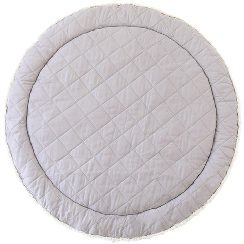 Organic Cotton Quilted Round Play Mat Reversible-  Noah Grey with Thistle Stripes