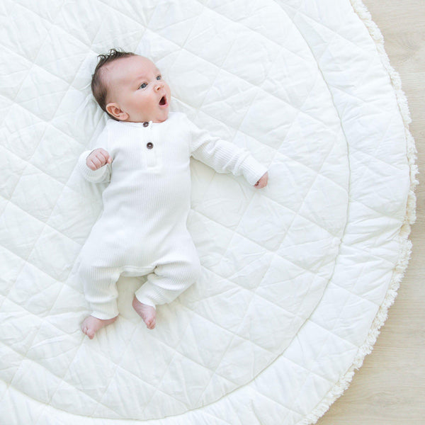 Organic Cotton Quilted Round Play Mat Reversible- Vanilla White with Cobi Blue Stripes-Makemake Organics