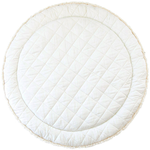 Organic Cotton Quilted Round Play Mat Reversible-  Vanilla White with Cobi Blue Stripes