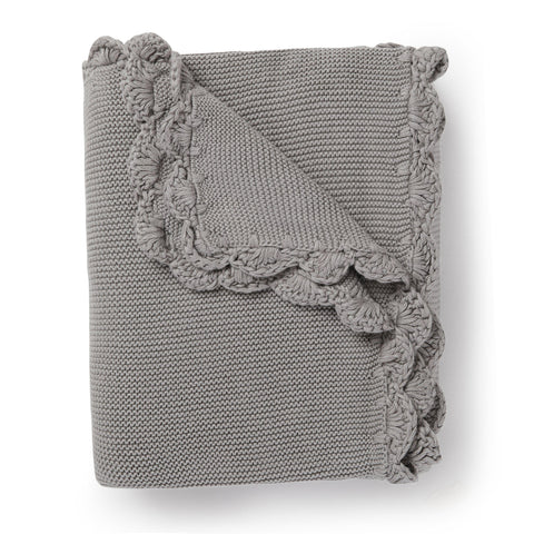 Organic Cotton Scalloped Baby Blanket - Alba Gray