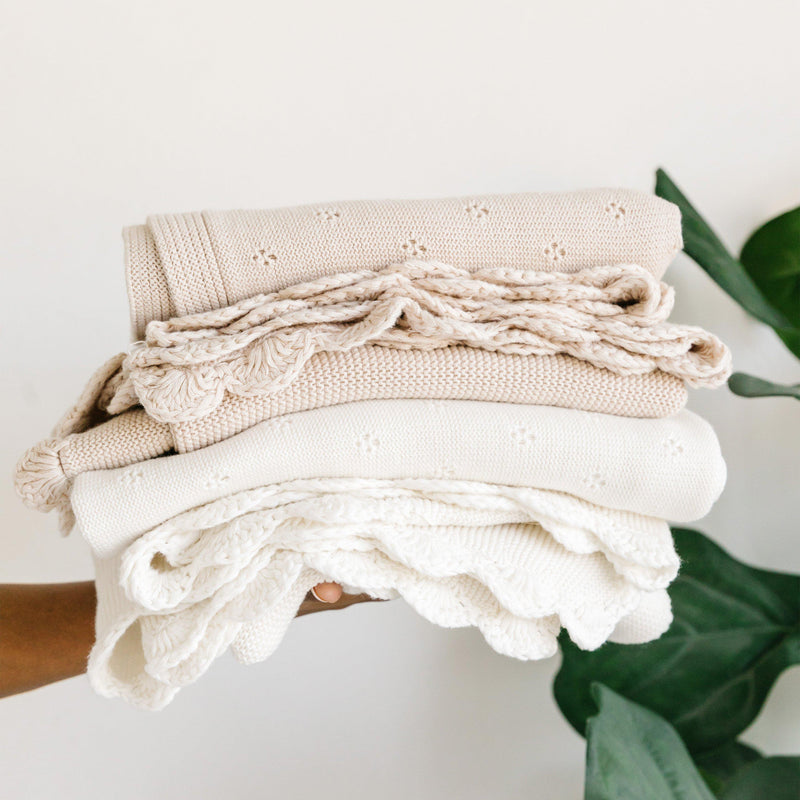 Organic Cotton Scalloped Baby Blanket - Ella Ivory-Makemake Organics