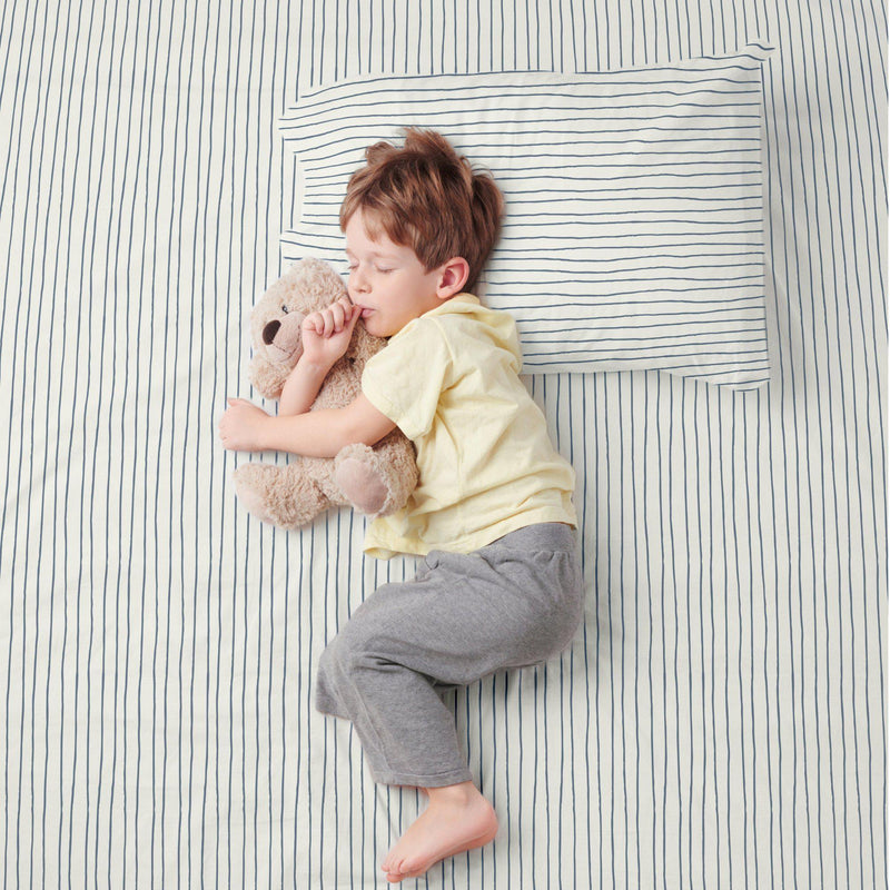Organic Cotton Sheet Set - Cobi Blue Groovy Stripes-Makemake Organics