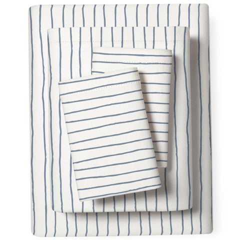 Organic Cotton Sheet Set - Cobi Blue Groovy Stripes