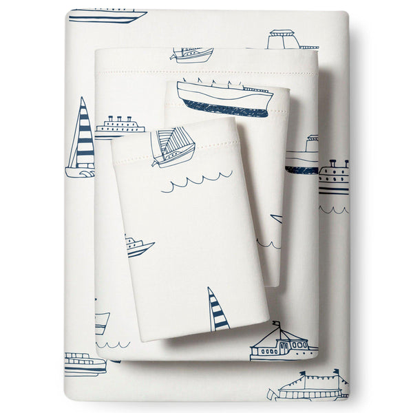 Organic Cotton Sheet Set - Sail Away-Makemake Organics
