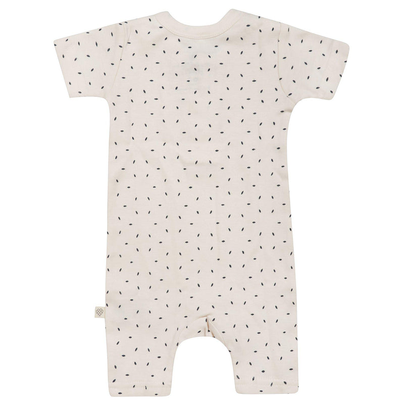 Organic Cotton Short Romper - Cobi Blue Flecks-Makemake Organics
