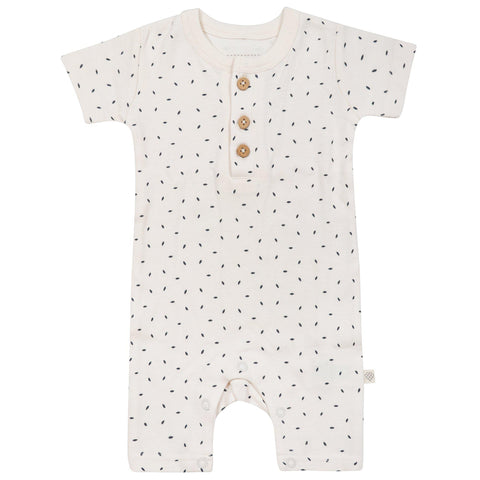 Organic Cotton Short Romper - Cobi Blue Flecks