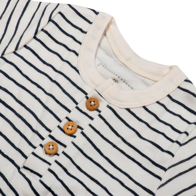 Organic Cotton Short Romper - Cobi Blue Stripes-Makemake Organics
