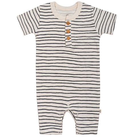 Organic Cotton Short Romper - Cobi Blue Stripes
