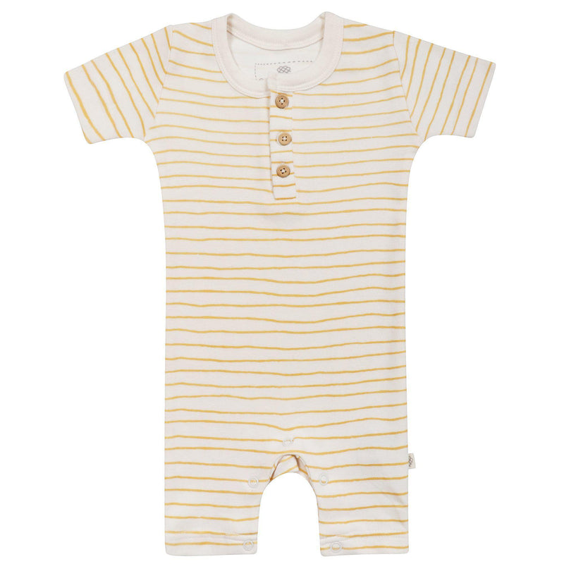 Organic Cotton Short Romper - Luna Yellow Stripes-Makemake Organics