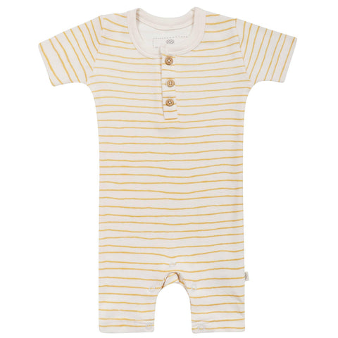 Organic Cotton Short Romper - Luna Yellow Stripes