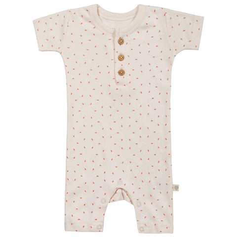 Organic Cotton Short Romper - Mila Pink Flecks