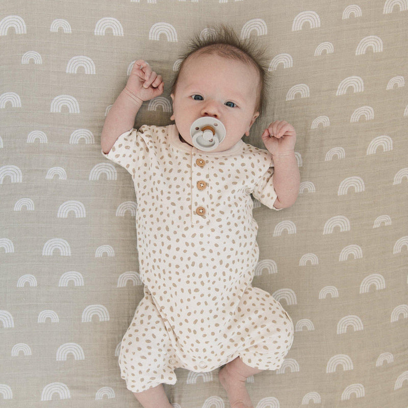 Organic Cotton Short Romper - Nola Brown Dots-Makemake Organics