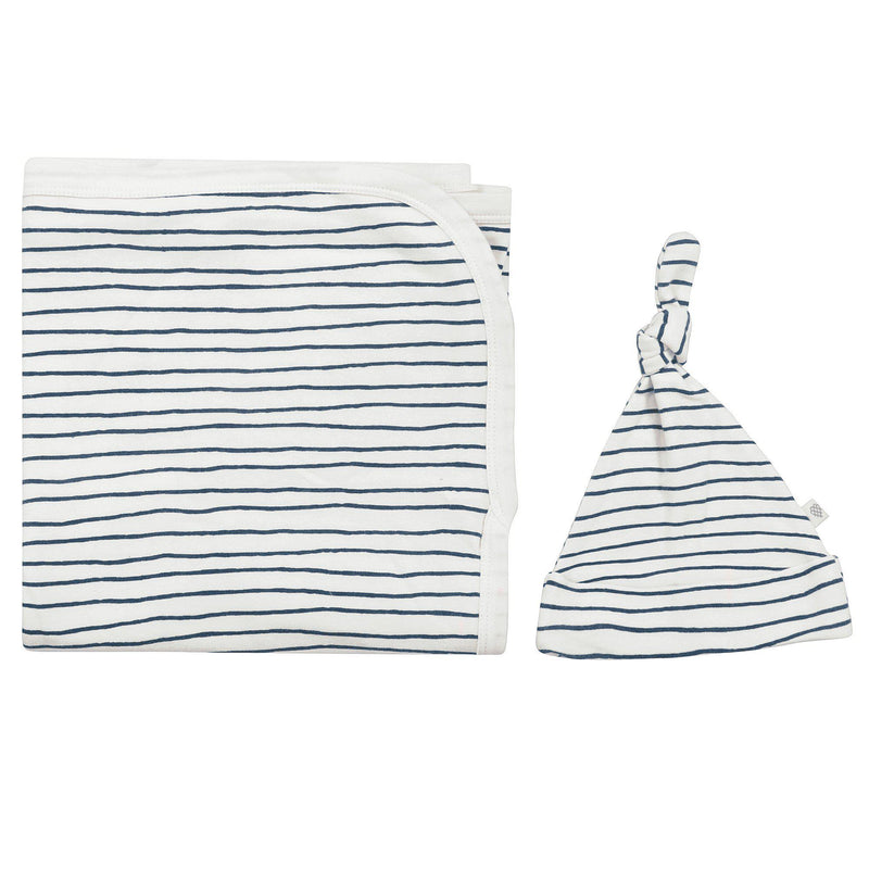 Organic Cotton Swaddle Blanket & Top Knot Hat - Cobi Blue Stripes-Makemake Organics