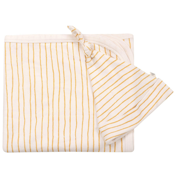 Organic Cotton Swaddle Blanket & Top Knot Hat - Luna Yellow Stripes-Makemake Organics