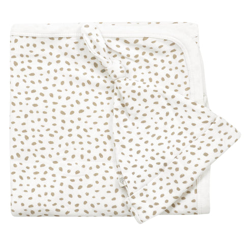 Organic Cotton Swaddle Blanket & Top Knot Hat - Nola Brown Dots