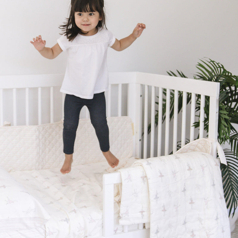 Organic Cotton Toddler Bed Set - Ballerina with Lola Blush Stripes-Makemake Organics