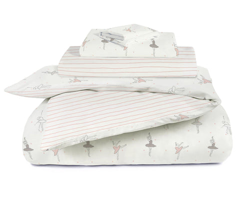 Organic Cotton Toddler Bed Set - Ballerina with Lola Blush Stripes