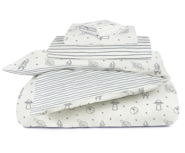 Organic Cotton Toddler Bed Set - Celestial with Cobi Blue Stripes-Makemake Organics