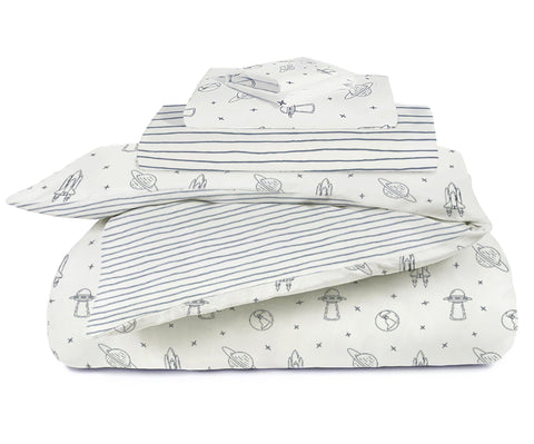 Organic Cotton Toddler Bed Set - Celestial with Cobi Blue Stripes