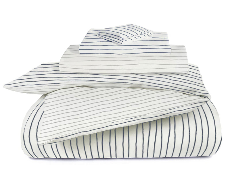 Organic Cotton Toddler Bed Set - Cobi Blue with Thistle Grey Stripes-Makemake Organics