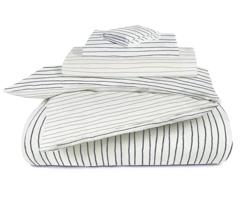 Organic Cotton Toddler Bed Set - Cobi Blue with Thistle Grey Stripes