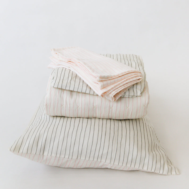 Organic Cotton Toddler Bed Set - Lola Blush with Thistle Grey Stripes-Makemake Organics