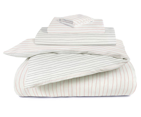 Organic Cotton Toddler Bed Set - Lola Blush with Thistle Grey Stripes