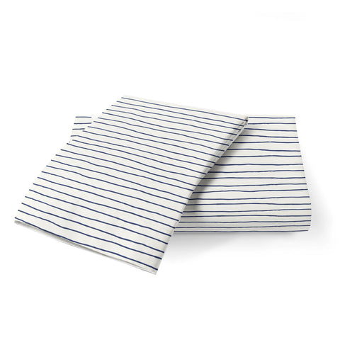 Organic Cotton Toddler Pillowcase - Cobi Blue Groovy Stripes